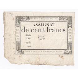 ASSIGNAT DE 100 FRANCS - 18 NIVOSE AN 3 - 07/01/1795 - DOMAINES NATIONAUX - TB