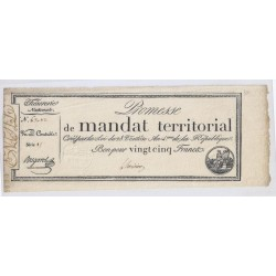 MANDAT TERRITORIAL DE 25 FRANCS - 28 VENTOSE AN 4 - 18/03/1796 -AVEC SERIE -TTB+