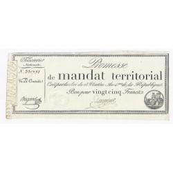 MANDAT TERRITORIAL DE 25 FRANCS - 28 VENTOSE AN 4 - 18/03/1796 - SANS SERIE -TTB