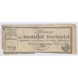 MANDAT TERRITORIAL DE 25 FRANCS - 28 VENTOSE AN 4 - 18/03/1796 - SANS SERIE - TB
