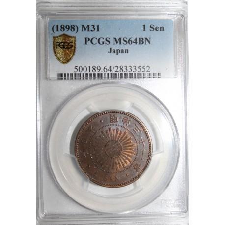 JAPON - Y 20 - 1 SEN 1898 - M 31 - PCGS MS 64 BN