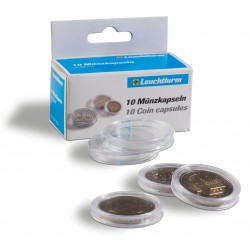 BOX OF 10 ROUND COIN CAPSULES (Diameter 14 to 50 mm)