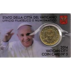 VATICAN - KM 460 - 50 CENT 2014 - COINCARD 5 - PAPE FRANCOIS