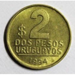 URUGUAY - KM 104 - 2 PESOS URUGUAYOS 1994 - José Gervasio Artigas