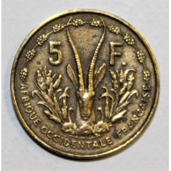 AFRIQUE OCCIDENTALE FRANCAISE - KM 5 - 5 FRANCS 1956 - MARIANNE - GAZELLE