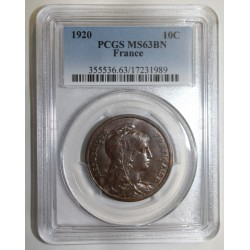 FRANCE - KM 843 - 10 CENTIMES 1920 - TYPE DUPUIS - PCGS MS 63 BN