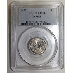 FRANCE - KM 866a - 10 CENTIMES 1917 - TYPE LINDAUER - PCGS MS 66