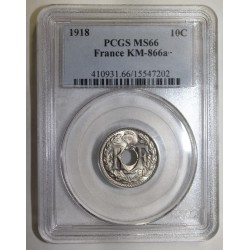 FRANCE - KM 866a - 10 CENTIMES 1918 - TYPE LINDAUER - PCGS MS 66