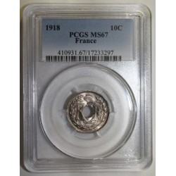FRANCE - KM 866a - 10 CENTIMES 1918 - TYPE LINDAUER - PCGS MS 67