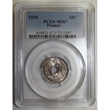 FRANCE - KM 866a - 10 CENTIMES 1918 - TYPE LINDAUER - PCGS MS 67