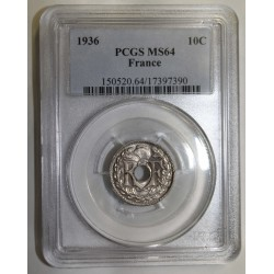 FRANCE - KM 866a - 10 CENTIMES 1936 - TYPE LINDAUER - PCGS MS 64
