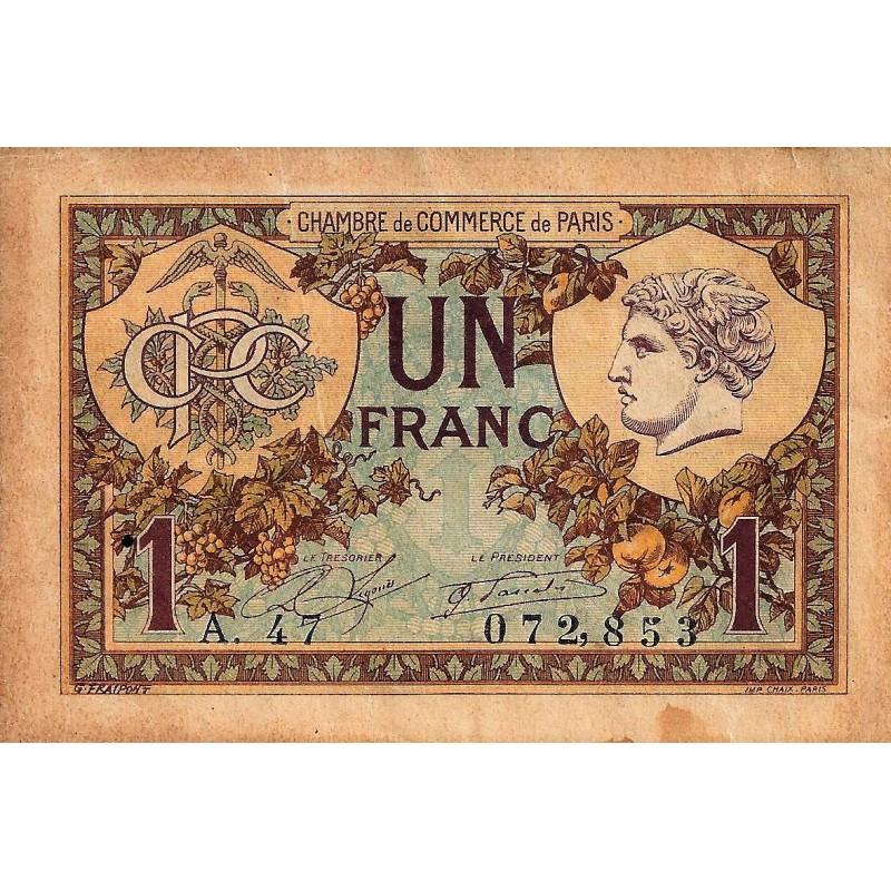 75 paris 1 franc 1922 chambre de commerce - Chambre de commerce bobigny adresse ...