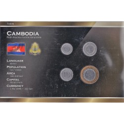 CAMBODGE - 50, 100, 200 ET 500 RIELS - PLAQUETTE WORLD MONEY