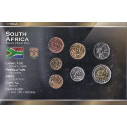 AFRIQUE DU SUD - SERIE DE 5, 10, 20, 50 CENTS ET 1, 2, 5 RAND - PLAQUETTE WORLD MONEY