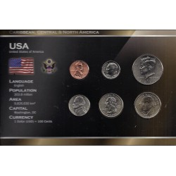 ETATS UNIS - SERIE DE 6 PIECES - PLAQUETTE WORLD MONEY
