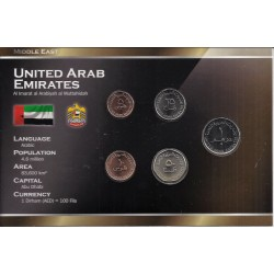 EMIRATS ARABES UNIS - SERIE DE 5 PIECES - PLAQUETTE WORLD MONEY