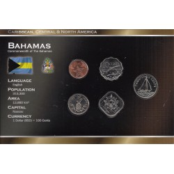 BAHAMAS - SERIE DE 5 PIECES - PLAQUETTE WORLD MONEY