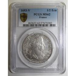 Gad185 - LOUIS XIV - 1/2 ECU 1693 - AUX PALMES - V - TROYES - PCGS MS 62