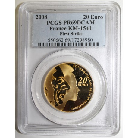 FRANCE - KM 1541 - 20 EURO 2008 - 50 YEARS OF THE 5th REPUBLIK - FIRST STRIKE - PCGS PR 69 DCAM