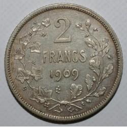 BELGIQUE - KM 58.1 - 2 FRANCS 1909 - LÉGENDE FRANCAISE - LEOPOLD II