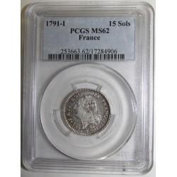 Dup 1721 - LOUIS XVI - 15 SOLS 1791 I - Limoges - PCGS MS 62