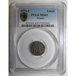 Dup 1091 - CHARLES IX - LIARD 1574 - AU 'C' COURONNÉ - P - Dijon - PCGS MS 62