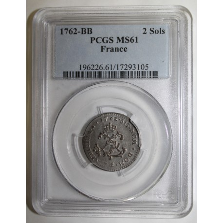 FRANCE - Dup 1690 - LOUIS XV - 2 SOLS 1762 BB - Strasbourg - PCGS MS 61