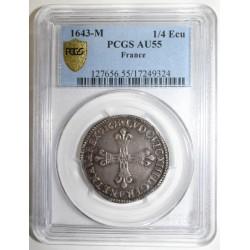 FRANCE - Dup 1332 - LOUIS XIII - 1/4 ÉCU 1643 M - Toulouse - PCGS AU 55