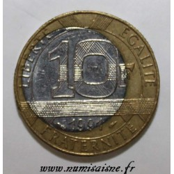 FRANCE - KM 964.1 - 10 FRANCS 1991 - TYPE GENIUS OF THE BASTILLE - MINT ERROR - OFF-CENTER NICKEL HEART