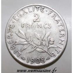FRANCE - KM 845 - 2 FRANCS 1908 - TYPE SOWER