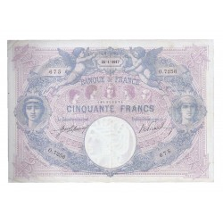 FRANCE - PICK 64 - 50 FRANCS 1917 - 25.01 - TYPE BLUE AND PINK