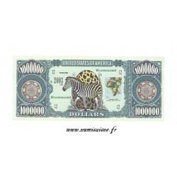 ÉTATS UNIS - 1.000.000 DOLLARS 2003 - ANIMAUX SAUVAGES - ZÈBRE - BILLET FANTAISIE