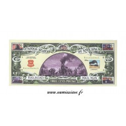 ÉTATS UNIS - 3 CENTS 2002 - WAGON POSTAL - RAILROAD MAIL RUN - BILLET FANTAISIE