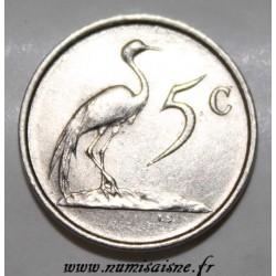 AFRIQUE DU SUD - KM 84 - 5 CENTS 1987 - GRUE DE PARADIS