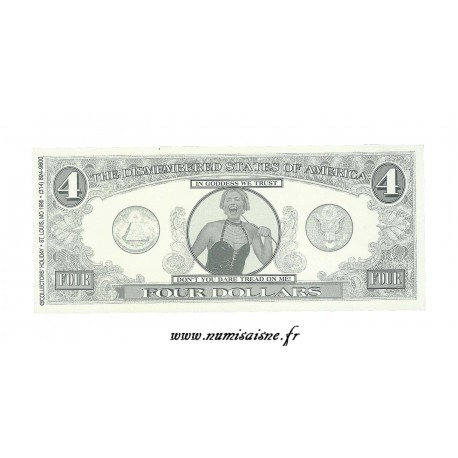 ÉTATS UNIS - 4 DOLLARS 1996 - THE DISMENBERED STATES OF AMERICA - BILLET FANTAISIE