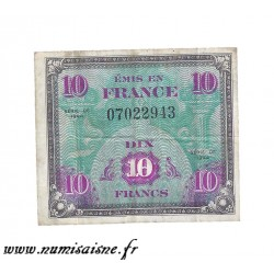 FRANCE - PICK 116 - 10 FRANCS 1944 - JUNE - TYPE FLAG