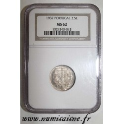 PORTUGAL - KM 580 - 2.50 ESCUDOS 1937 - BOAT - NGC MS 62