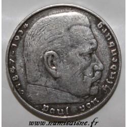 ALLEMAGNE - KM 86 - 5 MARK 1936 J - Hambourg - PAUL VON HINDENBURG