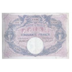 FAY 14/30 - 50 FRANCS 1917 - 27.10 - TYPE BLEU ET ROSE - PICK 64