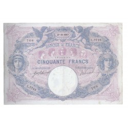 FRANCE - PICK 64 - 50 FRANCS 1917 - 27.10 - TYPE BLUE AND PINK