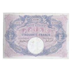 FRANCE - PICK 64 - 50 FRANCS 1917 - 06.12 - TYPE BLUE AND PINK