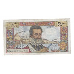 FRANCE - PICK 143 - 50 NEW FRANCS 1959 - 03.09 - HENRI IV - No 57 1 57