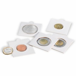 25 COIN HOLDERS, SELF-ADHESIVE (17.5 MM TO 39.5)
