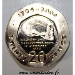 GIBRALTAR - KM 1048 - 20 PENCE 2004 - NEANDERTHAL SKULL