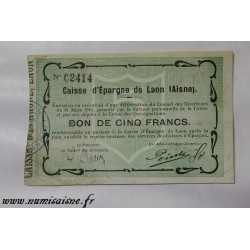 County 02 - LAON - VOUCHER OF 5 FRANCS 1915 - BANK 'CAISSE D'EPARGNE'