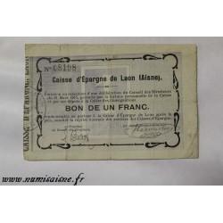 02 - LAON - BON DE 1 FRANCS 1915 - CAISSE D'EPARGNE