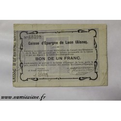 County 02 - LAON - VOUCHER OF 1 FRANCS 1915 - BANK 'CAISSE D'EPARGNE'