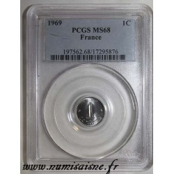 FRANCE - KM 928 - 1 CENTIME 1969 - TYP EAR OF WHEAT - PCGS MS 68