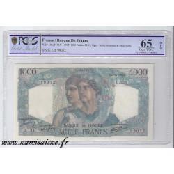 FRANCE - PICK 130 - 1000 FRANCS 1945 - 22/11 - TYPE MINERVA AND HERCULES - PCGS 65 GEM UNC