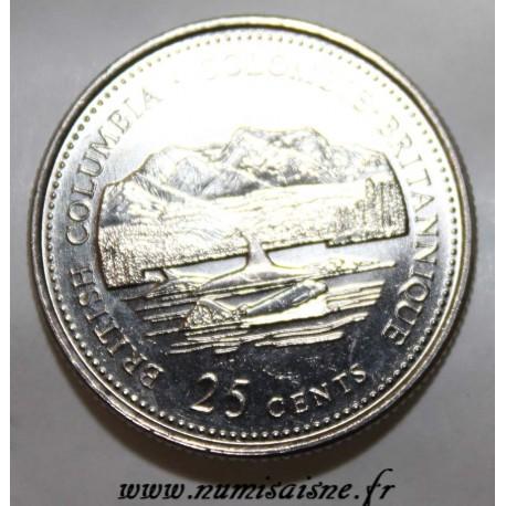CANADA - KM 232 - 25 CENTS 1992 - BRITISH COLUMBIA